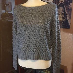 Forever 21 crop gray chunky knit sweater